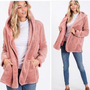 Faux Fur Open Front Jacket w/Side Pockets!